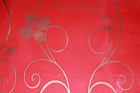 Самоклейка красная с тонким золотым декором 45 см