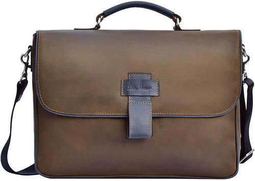 Повседневная кожаная мужская сумка GO-AHEAD MAN ISSA HARA B 20 (32-33), коричневая