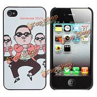 Милый мультфильм Psy каннам стиль тиснение эффект чехол для iPhone 4 и 4S