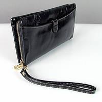 Черный женский кошелек на змейке кожаный №2167bla