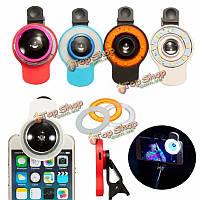 9в1 клип на телефон селфи Speedlite 8 LED вспышки света лампы широкоугольный объектив рыбий глаз заполняющий свет