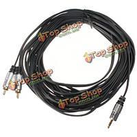 33ft Premium 3.5 позолоченные стерео штекер 2 RCA мужской музыки аудио кабель OFC