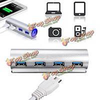 5 Гбит высокоскоростной алюминиевый USB 3.0 4-портовый концентратор адаптер питания для портативных ПК