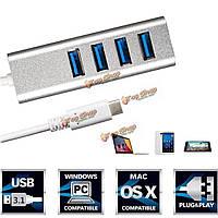 5 Гбит высокоскоростной USB 3.1 Type-C с USB 3.0 4 портов концентратора серебро алюминиевого сплава