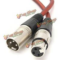 Разъем XLR контактный экранированный микрофонный удлинительный кабель 1м