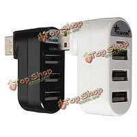 Мини 3-портовый USB 2.0 вращать внешний сплиттер адаптер-концентратор для портативных ПК