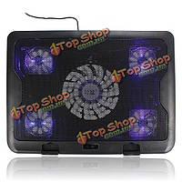 5 вентиляторов LED охлаждения USB регулируемая подставка для ноутбука Notebook 7-17-дюймов