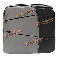 POFOKO 15.6-дюймов двойной плечи водонепроницаемый ткань оксфорд рюкзак сумка для ноутбука ноутбук серый/черный