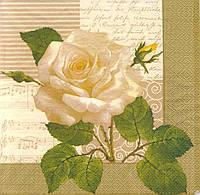 Салфетка декупажная Белая роза 305