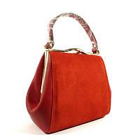 Красная сумочка 6839-1 натуральная замша и кожзаменитель, комбинированная