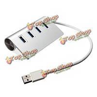 5 Гбит высокоскоростной алюминиевый USB 3.0 4-портовый разветвитель Hub адаптер с кабелем