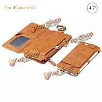 Многофункциональный ретро PU кожаный бумажник карман на молнии Flip-подножка Чехол для iPhone 6 6s 4.7