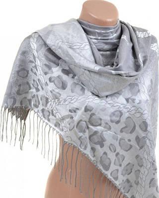 Красивый женский кашемировый палантин размером 70*180 см Подиум 32109-2 (серебристо-серый)