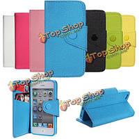 Фолио PU кожаный бумажник чехол со слотом для карт и подставка для iPhone 5