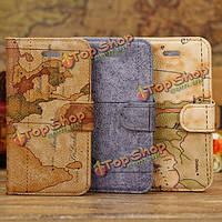 Fashion карта мира шаблон бумажник кожаный чехол чехол для iPhone 5С