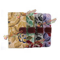 Цветок Grain PU кожаный слот для карты защитный чехол для iPhone 6