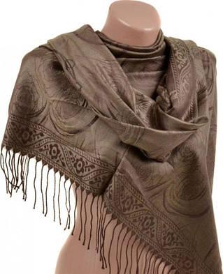 Однотонный женский кашемировый палантин размером 70*180 см Подиум 32107-1 (коричневый)