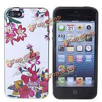 Белый фон цветы чехол для iPhone 5 5С