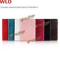 WLD A002 крокодил тиснением пластины оболочки Flip PU кожаный защитный чехлы для iPad mini 4