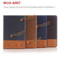 WLD A007 Luxury Cross Texture Contrast Color PU Leather Card Holder Tab Shell Case For iPad Mini 4