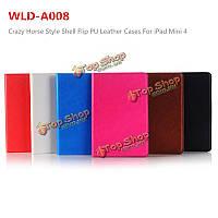 WLD A008 оболочки ума стиль лошади Flip PU кожаный защитный случаев для iPad mini 4