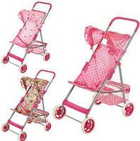 Детская коляска для кукол 9304: металл, текстиль, козырек, защитные ремни, упаковка 54х34х55 см