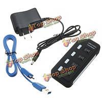 4 USB порта 3.0 SuperSpeed центр с на выключатель AC адаптер питания для Mac OS систем Linux