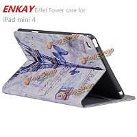 Enkay Эйфелеву башню PU с поддержкой слот для карт памяти и интеллектуальных случае защиты сна для iPad Mini 4