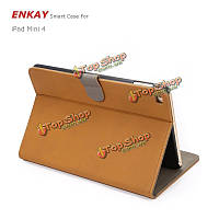 Enkay PU ретро штейн с слот для карт и брекет случаев Интеллектуальная защита сна для iPad Mini 4