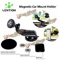 Lention универсальный 360° магнитного Автомобильный держатель стенд для мобильного телефона iPhone Samsung Сотовые телефону