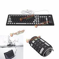 Портативный гибкий силиконовый водонепроницаемый клавиатура 103 клавиши мягкая складная цифровая клавиатура для MacBook