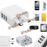 Ик штекер USB зарядное устройство 3 порта переходника перемещения стены питания переменного тока для iPhone iPad Sumsang
