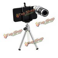 12 x зум оптический телескоп объектив камеры со штативом для iPhone 4 4s