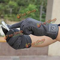Зимние мужские чистые полные рукавицы перчаток кашемира сенсорного экрана смартфона пальца