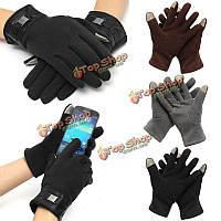 Мужские перчатки полный палец смартфон сенсорный экран кашемировые перчатки варежки зимой