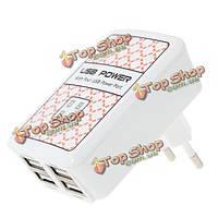 ЕС Plug 4 портами USB зарядное устройство адаптер для iPhone смартфона