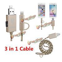 3в1 Lightning кабель синхронизации Micro-USB кабель шнур с микро читатель карточки SD и OTG функции зарядки