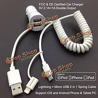 Yellowknife адаптер два USB порта автомобильное зарядное устройство и Micro-USB  молнией весной кабеля зарядного устройства для iPhone iPad
