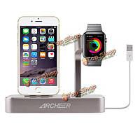 Archeer 2в1 часов стенд зарядная станция док настольное зарядное устройство адаптер для iPhone 6s Apple часы
