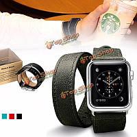 Длинный PU кожаный ремешок двойной тур браслет ремешок ремешок для часов Apple 38/42 мм