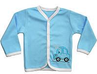 """Кофта ясельна для хлопчика """"Машинка"""", блакитний, зріст 74"""