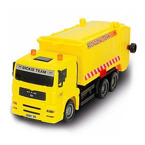 """Игрушечные машинки и техника «Dickie Toys» (3343000) мусоровоз """"MAN"""" с мусорным контейнером и ограждением, 22 см (жёлтый), фото 2"""