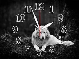 """Настенные часы """"Волк белый""""  кварцевые"""