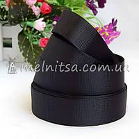 Лента репсовая черная, 2,5 см