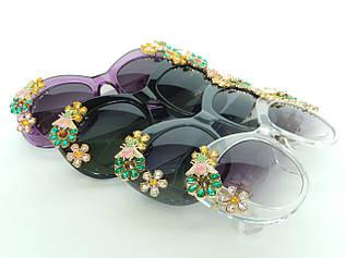 Очки с цветами из кристаллов в стиле D&G (коллекция ENCHANTED BEAUTIES) прозрачные