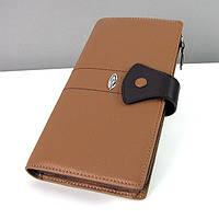 Кожаный коричневый женский кошелек Prensiti 116-406 на кнопке из натуральной кожи, фото 1
