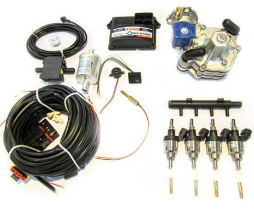 Комплект STAG-4 Q-BOX BASIC, ред. Tomasetto Alaska, форс. Hana Single красн, распред, фильтр 1-1