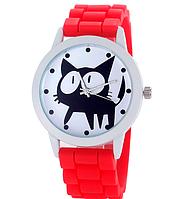Женские часы GENEVA Женева с белым циферблатом и КОТОМ, силиконовый браслет (красный), часы женские на ремешке