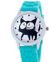 Женские часы GENEVA Женева с белым циферблатом и КОТОМ, силиконовый браслет (голубой), часы женские на ремешке