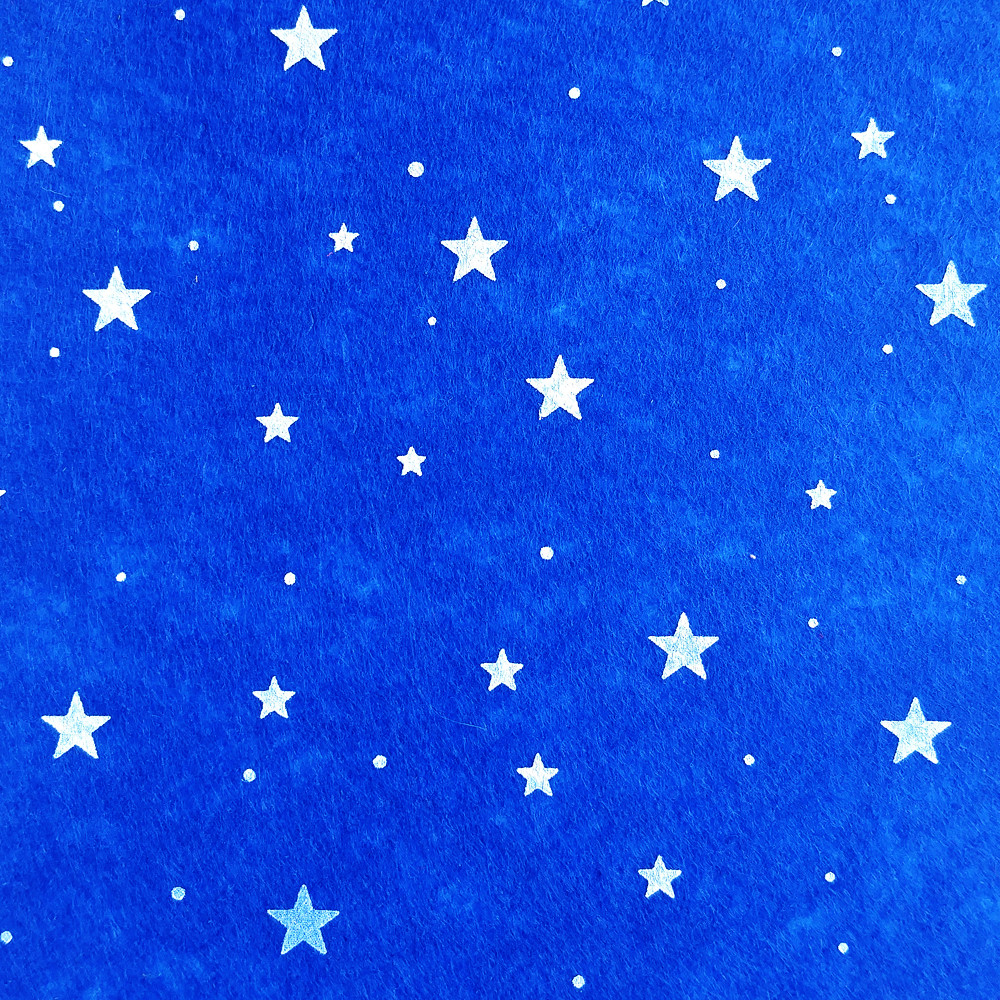 Фетр со звездочками жесткий 1 мм, 20x30 см, СИНИЙ, Китай